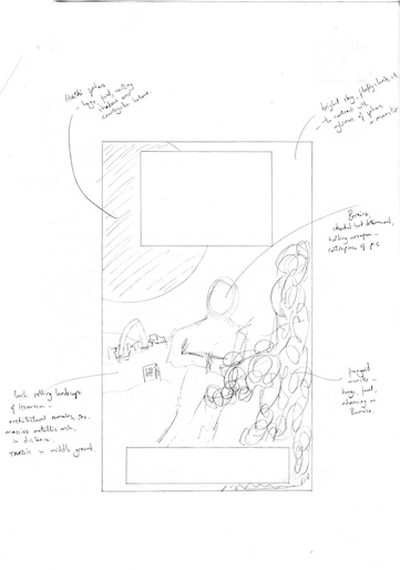 editor Peter Darvill-Evans' design sketch for the cover of Love and War